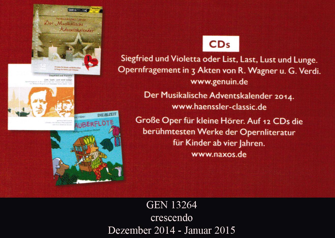 Weihnachtskalender Von Violetta.Genuin De Cd Katalog Genuin Cd Info